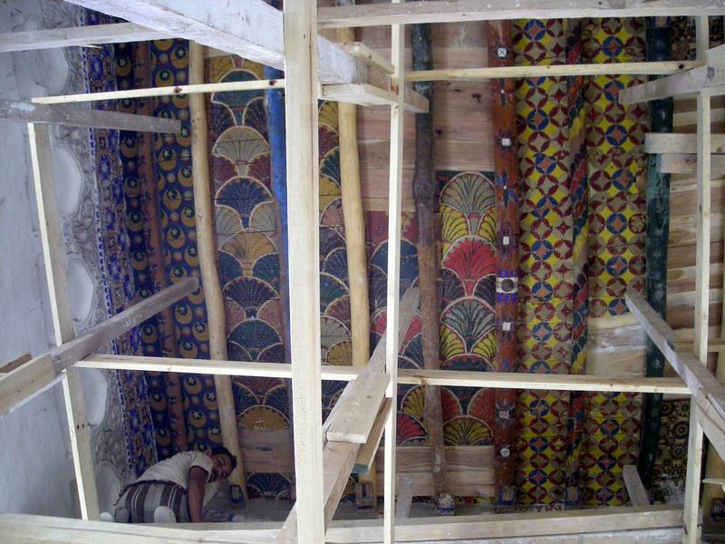 restoring ceiling art in an Ottoman period home in Zabid