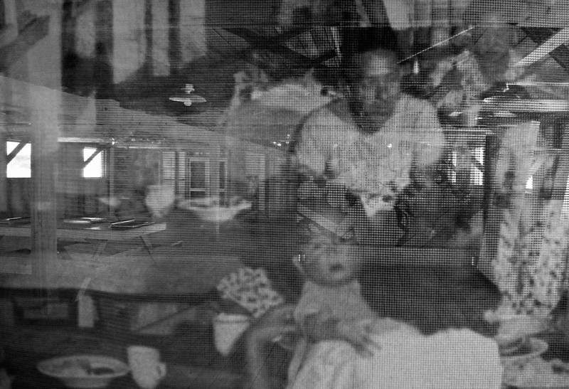 Ghosts of Manzanar  Image printed on a screen in the replicated mess hall, Manzanar National Historic Site.