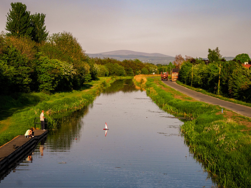 Looking east along the Grand Canal towards the Wicklow Mountains from Digby Bridge