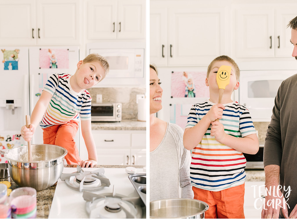 Happy face spatula. Lifestyle in-home family photoshoot with snuggles, couch forts, baking, guitar, baseball, and playing cards. By Tenley Clark Photography.