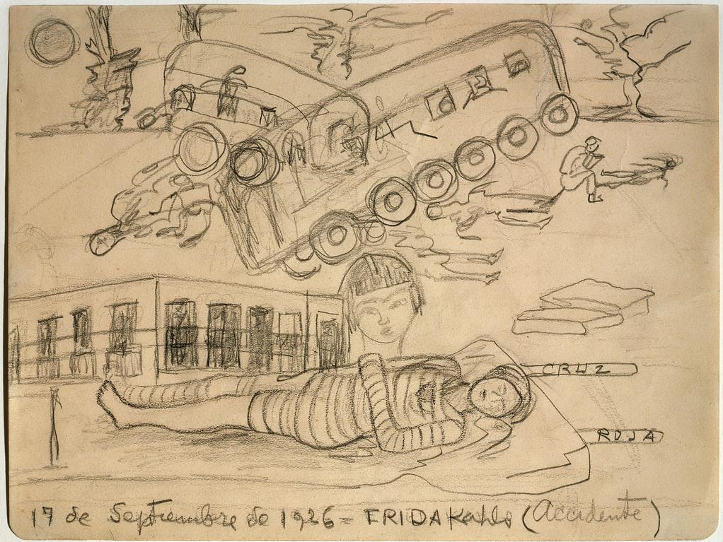 . The Accident, Frida Kahlo, 1926, pencil on paper, Colección Juan Rafael Coronel Rivera, photographer: Francisco Kochen