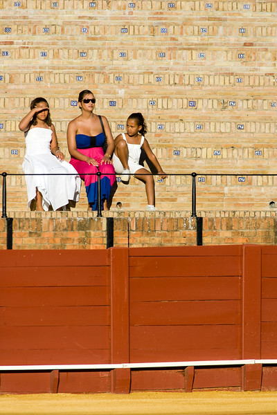 Foreign spectators of a bullfight, Maestranza bullring, Seville, autonomous community of Andalusia, southern Spain