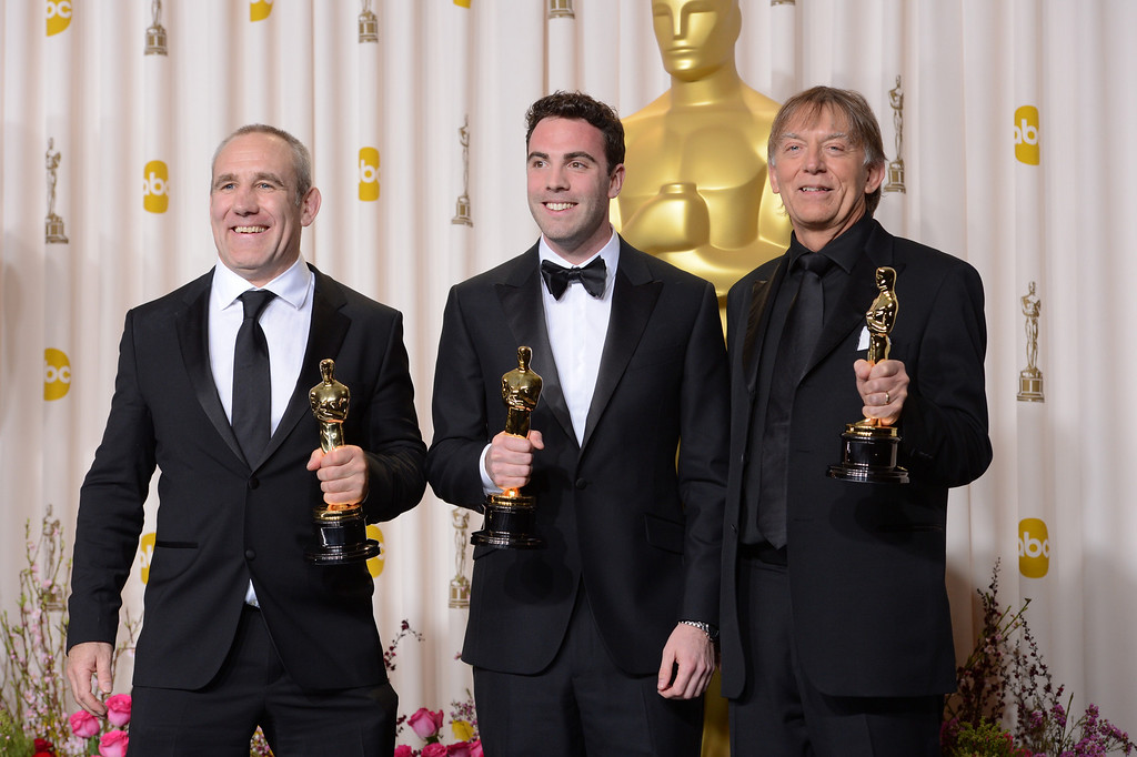 ". Simon Hayes, Mark Paterson and Andy Nelson  accept the award for best sound mixing for ""Les Miserables\"" backstage at the 85th Academy Awards at the Dolby Theatre in Los Angeles, California on Sunday Feb. 24, 2013 ( David Crane, staff photographer)"