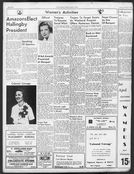 Daily Trojan, Vol. 29, No. 121, April 22, 1938