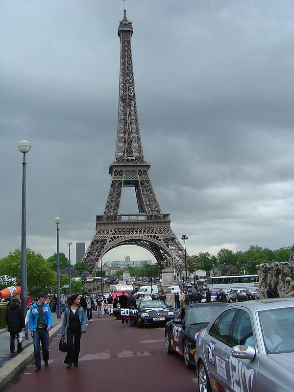 Here we are lined up at the Trocadero across from the Eiffel Tower. This is where the rallly oficially started from.