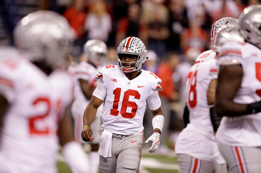 . Ohio State quarterback J.T. Barrett is seen during the first half the Big Ten championship NCAA college football game against Wisconsin, Saturday, Dec. 2, 2017, in Indianapolis. (AP Photo/Darron Cummings)