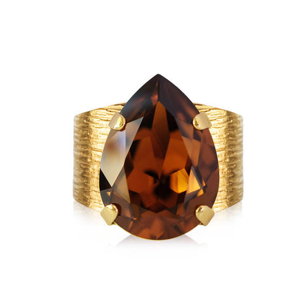 Classic Drop Ring / Smoked Topaz Gold