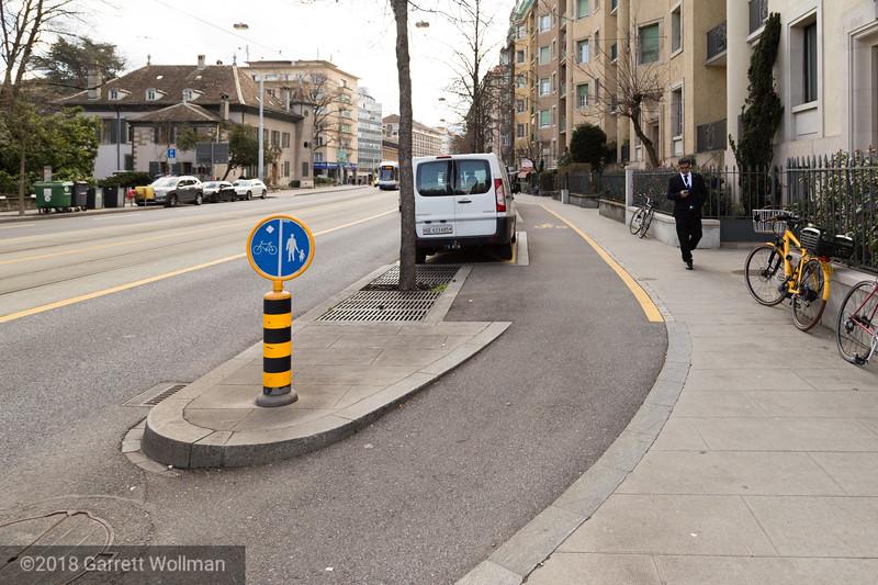 Sidewalk treatment with parking bays
