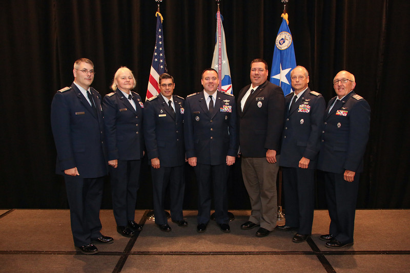 Civil Air Patrol Wing Commanders from Great Lakes Region pose for a photo with the Great Lakes Region Commander Col. Matthew Creed after the annual awards ceremony at the 2018 CAP National Conference in Anaheim, CA on Aug. 25, 2018.  (Civil Air Patrol, U.S Air Force Auxiliary photo by Lt. Col. Robert Bowden)