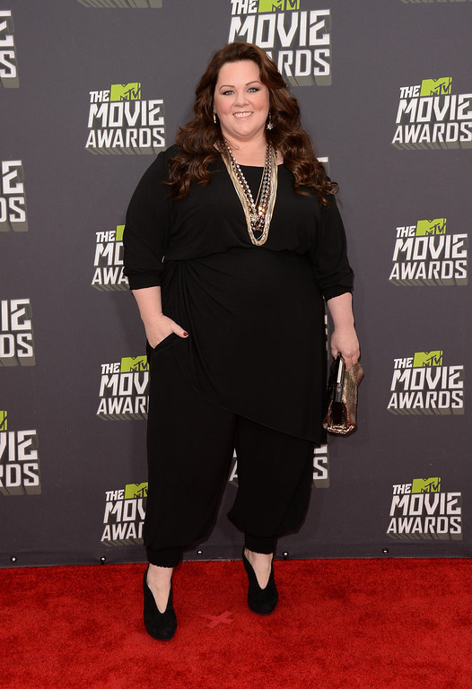 . Actress Melissa McCarthy arrives at the 2013 MTV Movie Awards at Sony Pictures Studios on April 14, 2013 in Culver City, California.  (Photo by Jason Merritt/Getty Images)