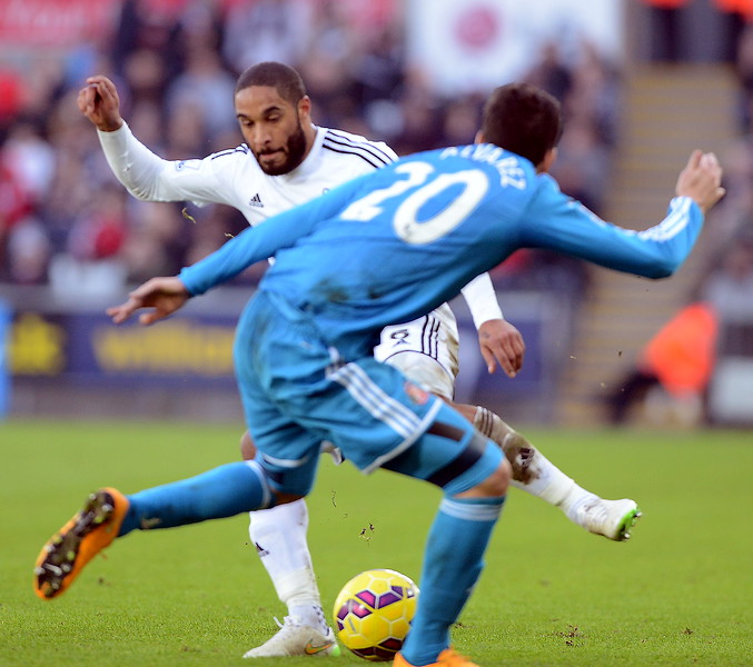 SPORT.... SWANS V SUNDERLAND.... SATURDAY 7th FEBRUARY 2015 Action from the Swans game against Sunderland at the Liberty. Pictured - Ashley Williams.