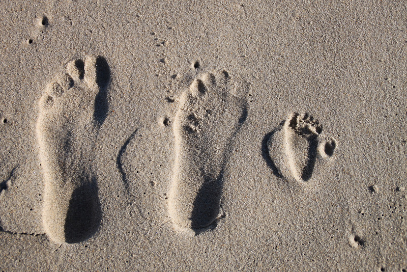 Dad, Mom and Luca footprints.