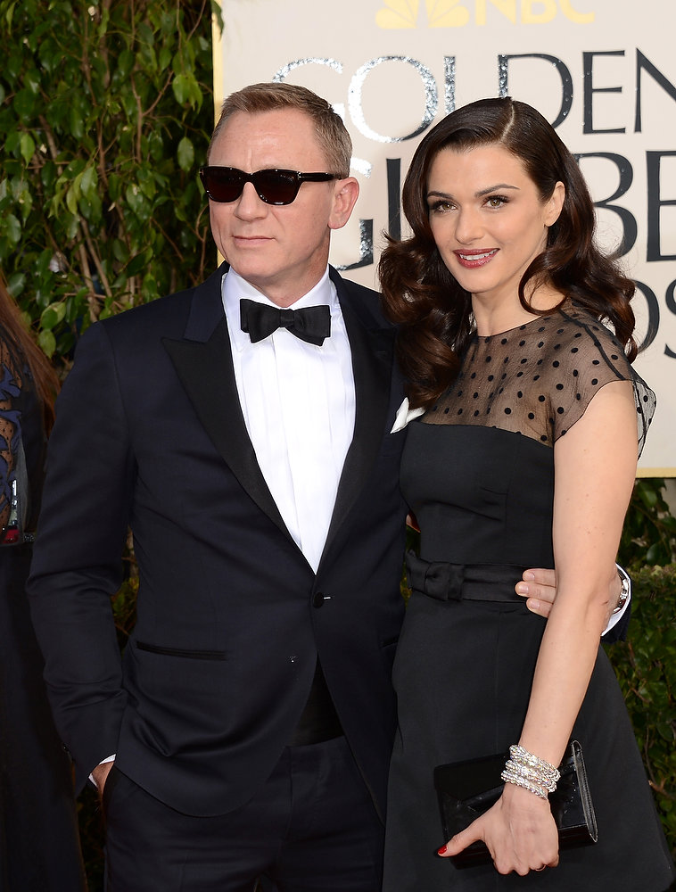 . Actor Daniel Craig (L) and wife actress Rachel Weisz arrive at the 70th Annual Golden Globe Awards held at The Beverly Hilton Hotel on January 13, 2013 in Beverly Hills, California.  (Photo by Jason Merritt/Getty Images)