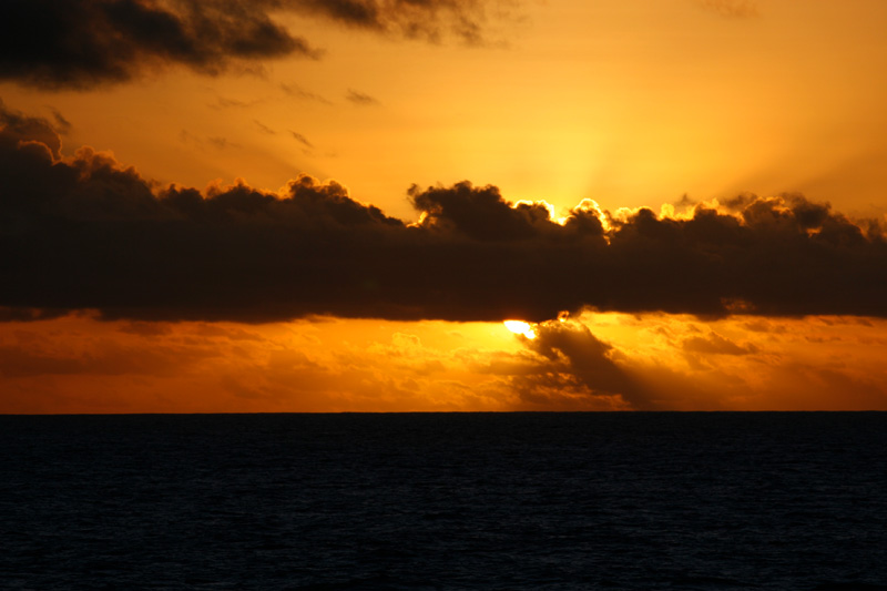 Sunset as we crossed the few miles from Moorea to Tahiti.