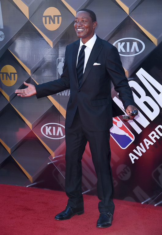 . Isiah Thomas arrives at the NBA Awards on Monday, June 25, 2018, at the Barker Hangar in Santa Monica, Calif. (Photo by Richard Shotwell/Invision/AP)