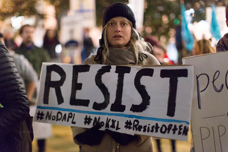 Protests Marches Vigils copyright Sam Breach 2016-20170126 - T48A0199 -We Resist No KXL no DAPL - photographed by Sam Breach 2017.jpg