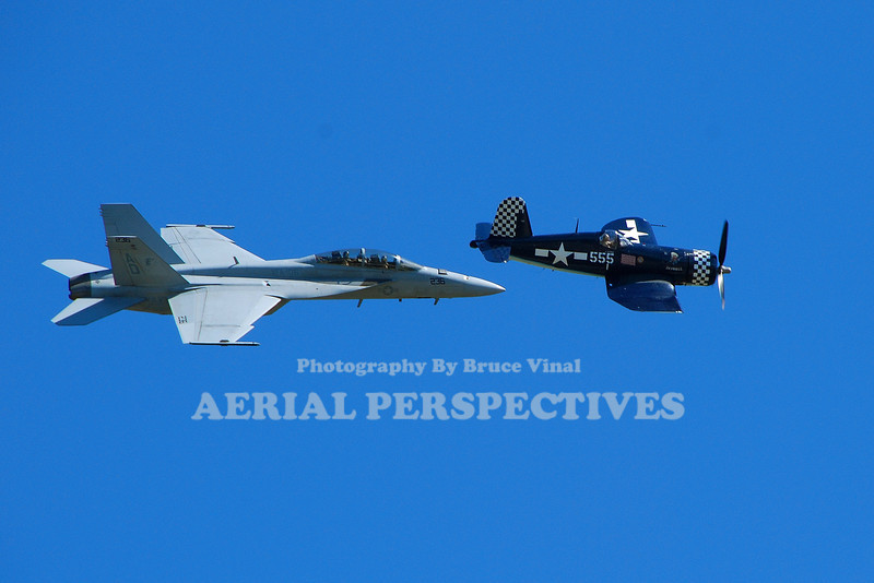 McDonnell Douglas F/A-18B Hornet and Corsair in a history flight