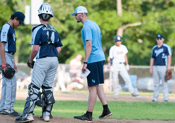 07/26/19 Wesley Bunnell | Staff The SB Tides lost to the Overlook Black Sox in Nutmeg Games baseball on Friday at Stanley Quarter Park. Assistant Coach Alex Smith.
