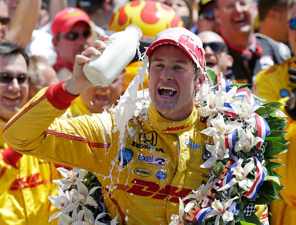 . Ryan Hunter-Reay celebrates winning the Indianapolis 500 IndyCar auto race at the Indianapolis Motor Speedway in Indianapolis, Sunday, May 25, 2014. (AP Photo/AJ Mast)