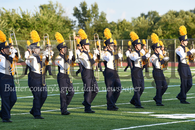 Harold Aughton/Butler Eagle: Butler High School Marching Band dones their new uniforms Wednesday, August 21.