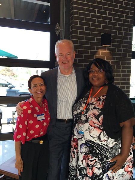 Maria Chavez Wilcox, Kevin Johnson (Starbucks CEO), and Alicia Crank