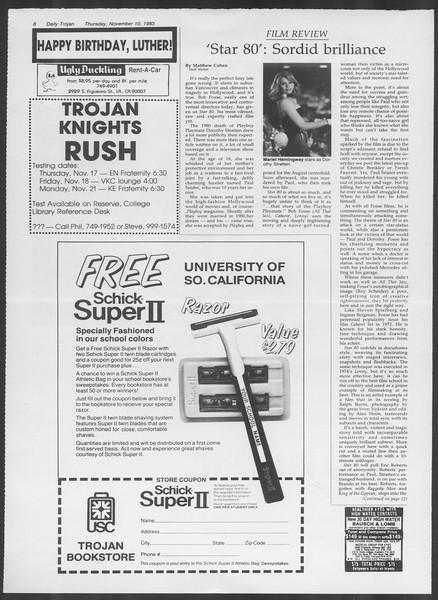 Daily Trojan, Vol. 94, No. 47, November 10, 1983