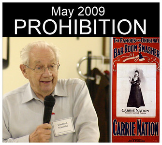 """Linfred Schuttler gave the final program of the year; it was a narrative regarding early prohibition years in South Dakota.  The national era of prohibition didn't occur until 1919, when the 18th Amendment to the U.S. Constitution was ratified by 36 states.  While it didn't ban the consumption of alcohol, it placed severe restrictions that made consumption seemingly impossible.  It took effect in 1920, but was circumvented in a variety of ways.  More than a decade later, in 1933, the government came to recognize the futility of the law, and prohibition ended with the ratification of the the 21st Amendment.  It is the sole case where  an amendment to the U.S. Constitution has been repealed.  Schuttler's May presentation focused on earlier """"temperance"""" laws in South Dakota.  He recounted how three different periods of prohibition occurred between 1889 and 1933."""
