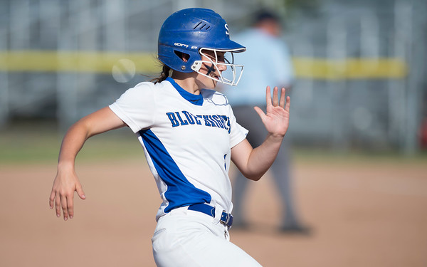 06/03/19 Wesley Bunnell | Staff Southington softball defeated Trumbull in a semifinal Class LL game at DeLuca Field in Stratford on Monday afternoon. Kelsey Fernandez (1) running to third base.