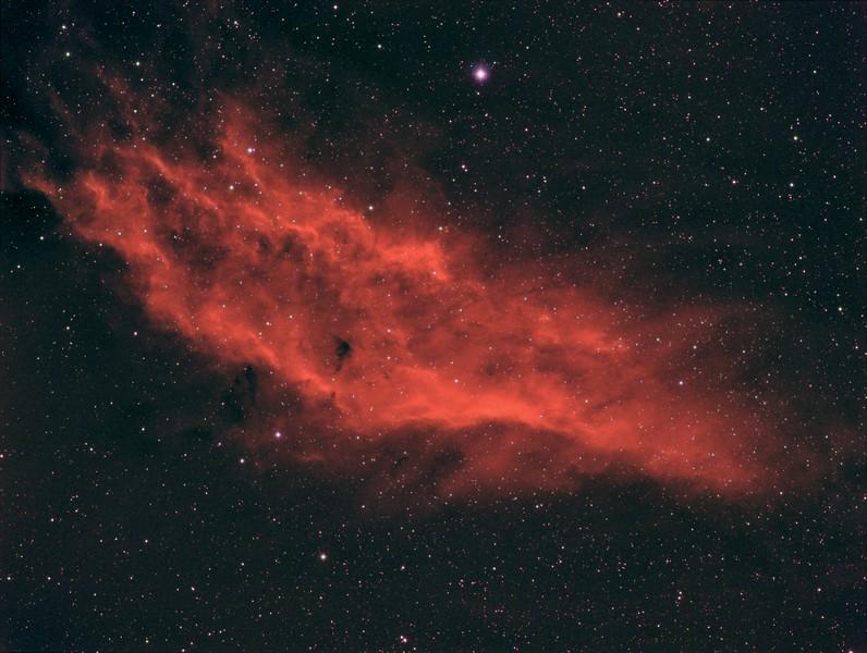 "NGC 1499 (California nebula)  -  RA: 04h 04m 12s   Dec: +36°23'51""  Camera  SBIG STT8300+FW8G-STT , Mount: Takahashi EM200 Temma2 , Takahashi FS60  - Filters, Ha 10x600"" for nebula  RGB 7x60"" for stars,  Pixinsight proceced. December 2013 , Sevilla Spain"