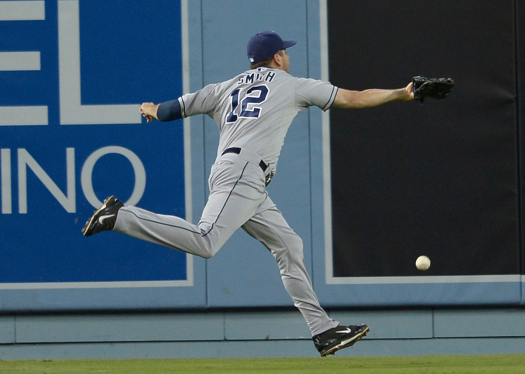 . Padres center fielder Seth Smith can not get to this Justin Turner double in the 2nd inning. The Dodgers played the San Diego Padres at Dodger Stadium. Los Angeles, CA. 8/19/2014(Photo by John McCoy Daily News)