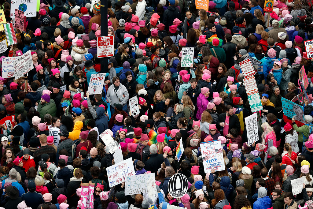 . A crowd packs Independence Avenue during the Women\'s March on Washington, Saturday, Jan. 21, 2017 in Washington. (AP Photo/Alex Brandon)
