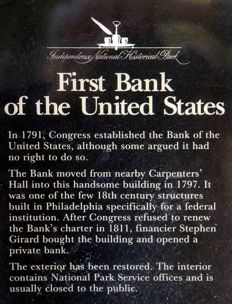 Label describing the first US bank