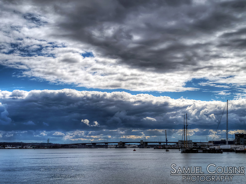 Cloud in the sky over the Casco Bay Bridge and Portland Harbor.