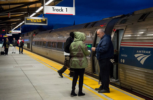 11/21/19 Wesley Bunnell | StaffrrImages as passengers wait and board a southbound Amtrak train in the Berlin train station on Friday evening November 22, 2019.
