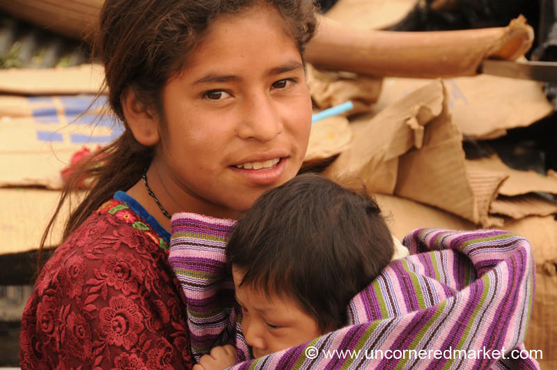 Guatemalan Girl and Baby Sister - Antigua, Guatemala