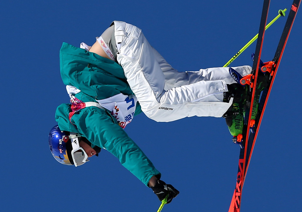 . Russell Henshaw of Australia  in action during the Men\'s Freestyle Skiing Slopestyle qualification in the Rosa Khutor Extreme Park at the Sochi 2014 Olympic Games, Krasnaya Polyana, Russia, 13 February 2014.  EPA/JENS BUETTNER