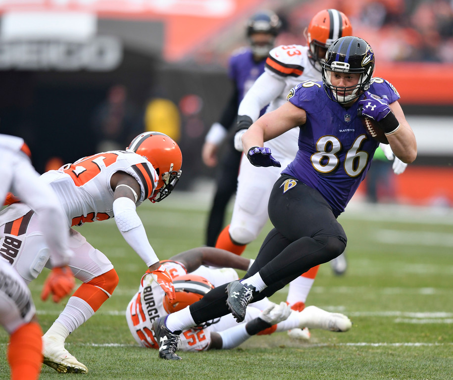 . Baltimore Ravens tight end Nick Boyle (86) rushes against the Cleveland Browns during the first half of an NFL football game, Sunday, Dec. 17, 2017, in Cleveland. (AP Photo/David Richard)