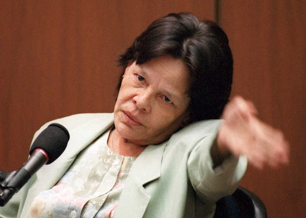 . Defense witness Rosa Lopez gestures 02 March 1995 to show which way she walked the dog on the night of the murders of Nicole Brown Simpson and Ron Goldman during her videotaped testimony in the O.J. Simpson murder trial.  Lopez claims she saw a white Bronco outside Simpson\'s home sometime after 10:00 pm.     (POOL/AFP/Getty Images)
