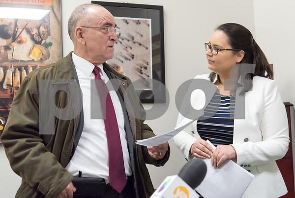 02/22/18 Wesley Bunnell | Staff Activists dropped off over 600 signed letters at office of Congresswoman Elizabeth Esty (CT-5) on Thursday afternoon in support of the Clean Dream Act which seeks to help undocumented immigrant youth. The Office for Catholic Social Justice Ministry's Parish Social Ministry Coordinator Arturo Iriarte, speaks with District Director Stephanie Podewell for Congresswoman Esty.