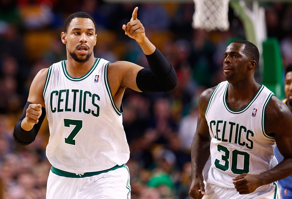. BOSTON, MA - DECEMBER 06: Jared Sullinger #7 of the Boston Celtics reacts following a basket in the second half against the Denver Nuggets during the game at TD Garden on December 6, 2013 in Boston, Massachusetts.  (Photo by Jared Wickerham/Getty Images)