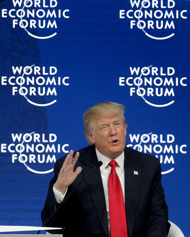 . U.S. President Donald Trump speaks during a conversation with the founder of the forum, Klaus Schwab, as part of the annual meeting of the World Economic Forum in Davos, Switzerland, Friday, Jan. 26, 2018. (AP Photo/Markus Schreiber)