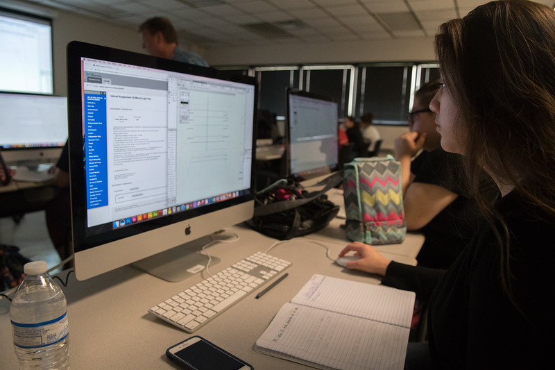 Coral Harris learns to use different Vectorworks technique during her Lighting Design class.