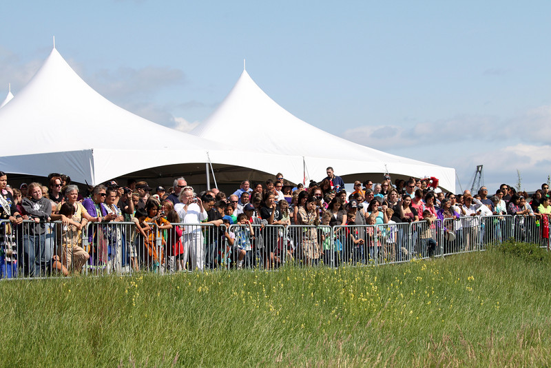 There was a very large crowd anxiously waiting for the release.