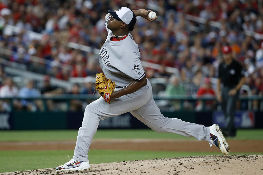 . Luis Severino of Yankees pitches during the second inning of the Major League Baseball All-star Game, Tuesday, July 17, 2018 in Washington. (AP Photo/Alex Brandon)