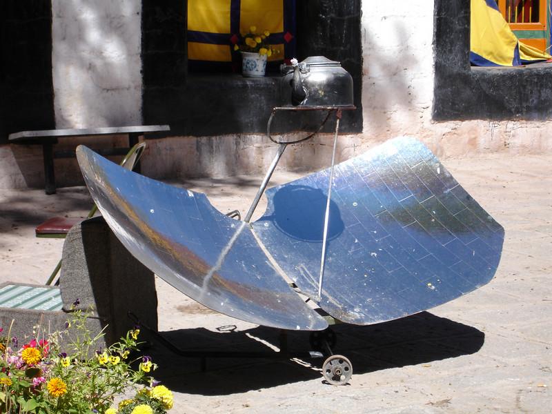 solar teapot heater, Tibet
