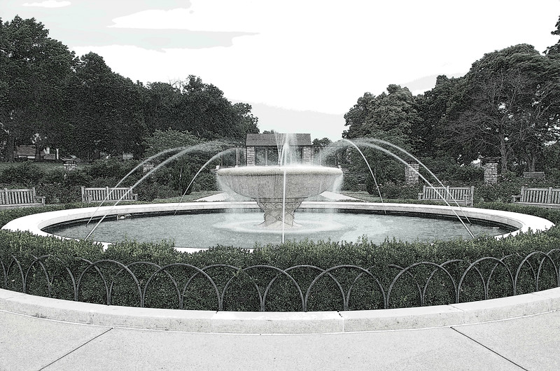 Fountain in the rose garden at Loose Park in Kansas City.  Added pencil sketch effect.