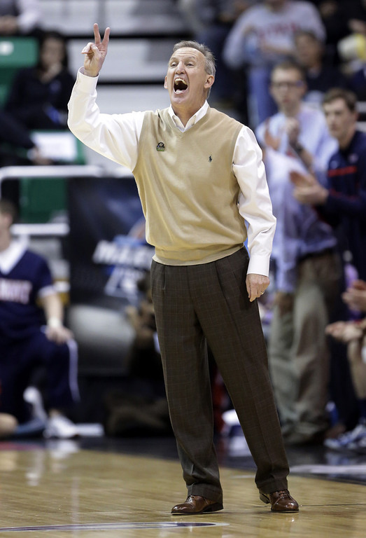 . Belmont head coach Rick Byrd shouts to his team in the first half of a second-round game against Arizona in the NCAA college basketball tournament in Salt Lake City Thursday, March 21, 2013. (AP Photo/Rick Bowmer)