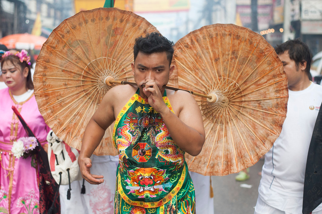 . Vegetarian festival devotees of Jui Tui shrine parade through the streets on September 30, 2014 in Phuket, Thailand.  (Photo by Borja Sanchez-Trillo/Getty Images)