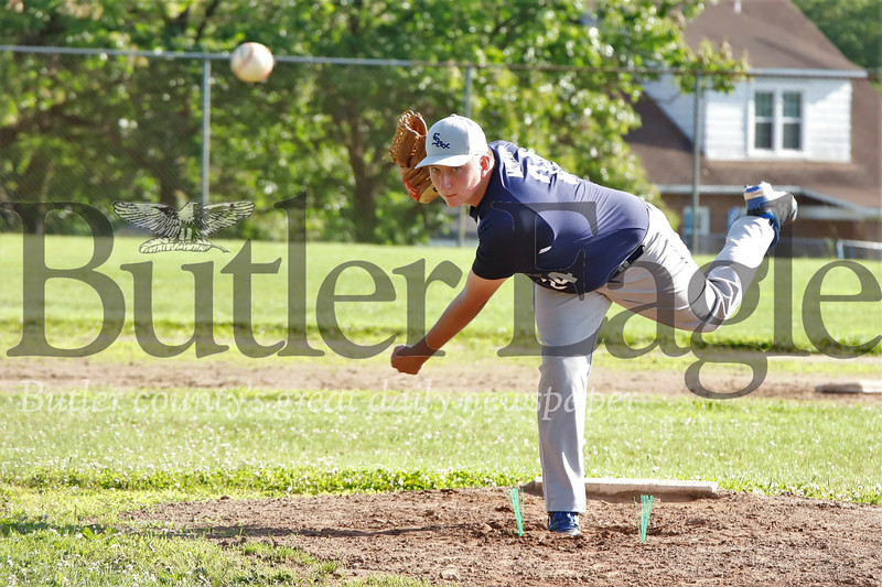 Saxonburg starting pitcher #24. Seb Foltz/Butler Eagle