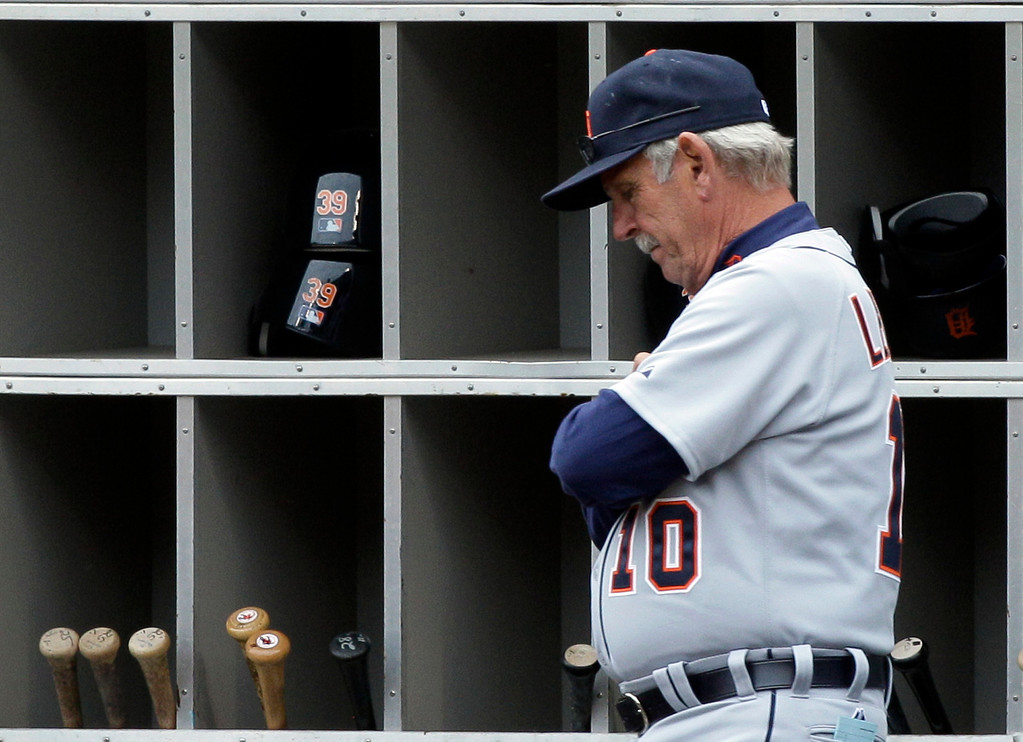 . Detroit Tigers manager Jim Leyland looks down as he watches his team play against the Chicago White Sox during the eighth inning of an baseball game in Chicago, Friday, April 13, 2012. The White Sox won 5-2. (AP Photo/Nam Y. Huh)